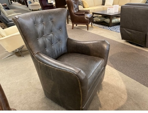 Tufted back leather swivel chair