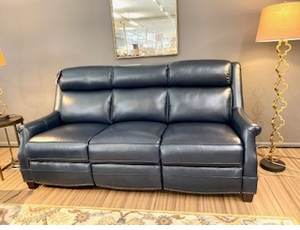 Warrendale Shoreham Blue Leather Reclining Sofa