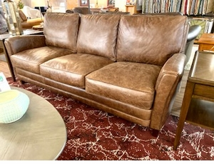 Zion Vintage Look Leather Sofa
