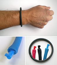 Hidden Plastic Cuff Key Bracelet Black