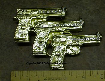 Shiny Bling  3 Pistols Belt Buckle with Crystals Closeout