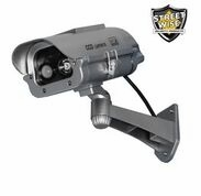 Fake Outdoor Security Camera Solar powered strobe light and motion detection