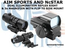 AIM SPORTS DUAL ILLUMINATION REFLEX SIGHT AND NcSTAR 3x MAGNIFIER WITH FLIP TO SIDE MOUNT