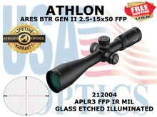 "ATHLON ARES BTR GEN II 2.5-15x50 APLR3 FFP IR MIL  <STRONG><font color = ""red"">LIMITED AVAILABILITY - 1 LEFT! SHOW/SHOP DEMO</FONT></STRONG><BR>"