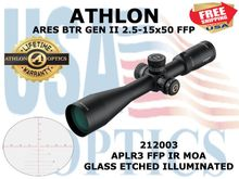 "ATHLON ARES BTR GEN II 2.5-15x50 APLR3 FFP IR MOA  <STRONG><font color = ""red"">LIMITED AVAILABILITY - 1 LEFT! SHOW/SHOP DEMO</FONT></STRONG><BR>"
