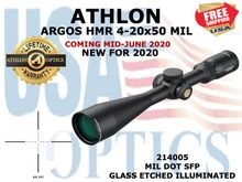 """ATHLON ARGOS HMR 4-20x50 MIL DOT SFP MIL <FONT COLOR = """"RED"""">COMING MID-JUNE 2020</FONT></STRONG>"""