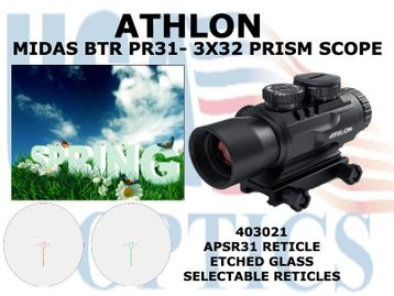 """ATHLON MIDAS BTR PR 31 - 3x32 PRISM SCOPE ASPR 31 RETICLE <STRONG><FONT COLOR = """"RED""""> LIMITED AVAILABILITY</FONT></STRONG>"""