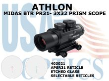 "ATHLON MIDAS BTR PR 31 - 3x32 PRISM SCOPE ASPR 31 RETICLE <STRONG><FONT COLOR = ""RED"">1 LEFT - SHOW DEMO - FULL MANUFACTURERS WARRANTY</STRONG></FONT><BR>"