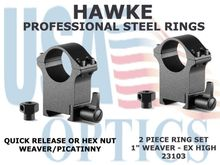 "HAWKE PROFESSIONAL STEEL RINGS - 1"" 2 PIECE WEAVER EXTRA HIGH"