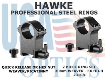 HAWKE PROFESSIONAL STEEL RINGS - 30mm 2 PIECE WEAVER EXTRA HIGH