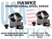 HAWKE PROFESSIONAL STEEL RINGS - 30mm 2 PIECE WEAVER HIGH