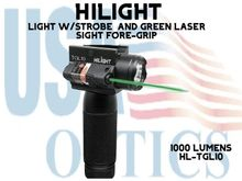 HILIGHT 1000 LM TACTICAL LIGHT WITH STROBE AND GREEN LASER SIGHT FORE-GRIP