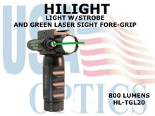 HILIGHT 800lm LIGHT W/STROBE AND GREEN LASER SIGHT FORE-GRIP