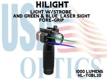 HILIGHT COBRA SERIES TACTICAL FORE GRIP LIGHT W/BLUE AND GREEN LASERS