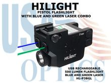 HILIGHT PISTOL FLASHLIGHT WITH BLUE AND GREEN LASER COMBO