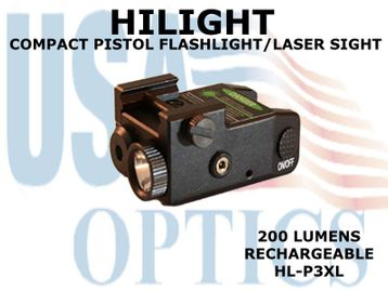 HILIGHT PISTOL GREEN LASER/200 LM LIGHT WITH STROBE - RECHARGEABLE