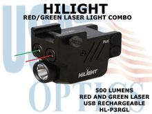 HILIGHT PISTOL FLASHLIGHT WITH RED AND GREEN LASER COMBO