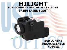 HILIGHT TACTICAL SUB-COMPACT PISTOL FLASHLIGHT/GREEN LASER COMBO