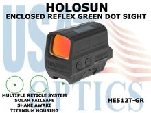 HOLOSUN ENCLOSED REFLEX SIGHT - GREEN - TITANIUM - BATTERY/SOLAR