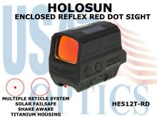 HOLOSUN ENCLOSED REFLEX SIGHT - RED - TITANIUM - BATTERY/SOLAR