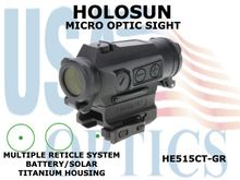 HOLOSUN MICRO DOT OPTIC SIGHT - GREEN - BATTERY/SOLAR - TITANIUM