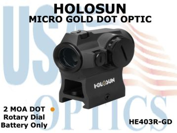 HOLOSUN MICRO GOLD DOT OPTIC - ROTARY DIAL/BATTERY