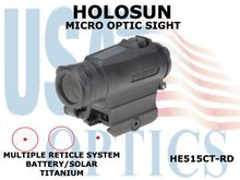 HOLOSUN MICRO OPTIC SIGHT - RED - BATTERY/SOLAR - TITANIUM