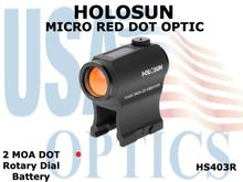 HOLOSUN MICRO RED DOT OPTIC - ROTARY DIAL/BATTERY
