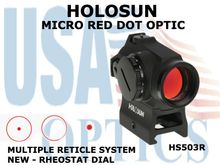HOLOSUN MICRO RED DOT - RHEOSTAT DIAL - BATTERY