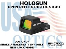 """HOLOSUN OPEN REFLEX PISTOL SIGHT (BATTERY/DOT ONLY) - RED <STRONG><FONT COLOR = """"RED""""> - NEW PRODUCT UPDATES</FONT><BR></STRONG>"""