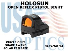 "HOLOSUN OPEN REFLEX PISTOL SIGHT (CIRCLE ONLY) - RED - BATTERY/SOLAR  <STRONG><FONT COLOR = ""RED"">NEW PRODUCT UPDATES - COMING SOON</FONT><BR></STRONG>"