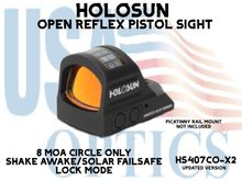 """HOLOSUN OPEN REFLEX PISTOL SIGHT (CIRCLE ONLY) - RED - BATTERY/SOLAR  - (PICATINNY RAIL MOUNT NOT INCLUDED)<STRONG><FONT COLOR = """"RED""""> - NEW PRODUCT UPDATES</FONT><BR></STRONG>"""