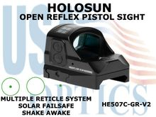 "HOLOSUN OPEN REFLEX PISTOL SIGHT - GREEN - BATTERY/SOLAR  <STRONG><FONT COLOR = ""RED"">NEW PRODUCT UPDATES ETA = LATE NOVEMBER</FONT><BR></STRONG>"