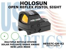 """HOLOSUN OPEN REFLEX PISTOL SIGHT - GREEN - BATTERY/SOLAR  <STRONG><FONT COLOR = """"RED""""> - NEW PRODUCT UPDATES </FONT><BR></STRONG>"""