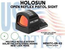 """HOLOSUN OPEN REFLEX PISTOL SIGHT - GREEN - BATTERY/SOLAR - (PICATINNY RAIL MOUNT NOT INCLUDED)<STRONG><FONT COLOR = """"RED""""> - NEW PRODUCT UPDATES </FONT><BR></STRONG>"""