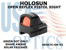 "HOLOSUN OPEN REFLEX PISTOL SIGHT - GREEN (DOT ONLY) - BATTERY/SOLAR  <STRONG><FONT COLOR = ""RED"">NEW PRODUCT UPDATES ETA = LATE NOVEMBER</FONT><BR></STRONG>"
