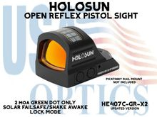 """HOLOSUN OPEN REFLEX PISTOL SIGHT - GREEN (DOT ONLY) - BATTERY/SOLAR - (PICATINNY RAIL MOUNT NOT INCLUDED)  <STRONG><FONT COLOR = """"RED""""> - NEW PRODUCT UPDATES</FONT><BR></STRONG>"""