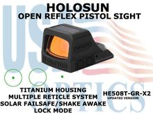 """HOLOSUN OPEN REFLEX PISTOL SIGHT - GREEN (TITANIUM) - BATTERY/SOLAR <STRONG><FONT COLOR = """"RED""""> - NEW PRODUCT UPDATES ETA - COMING SOON</FONT><BR></STRONG>"""