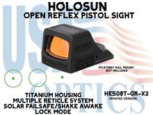 """HOLOSUN OPEN REFLEX PISTOL SIGHT - GREEN (TITANIUM) - BATTERY/SOLAR - (PICATINNY RAIL MOUNT NOT INCLUDED)<STRONG><FONT COLOR = """"RED""""> - NEW PRODUCT UPDATES ETA - COMING SOON</FONT><BR></STRONG>"""