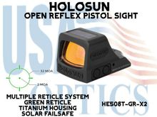 """HOLOSUN OPEN REFLEX PISTOL SIGHT - GREEN (TITANIUM) - BATTERY/SOLAR - (PICATINNY RAIL MOUNT NOT INCLUDED) <STRONG><FONT COLOR = """"RED""""> - NEW PRODUCT UPDATES</FONT><BR></STRONG>"""