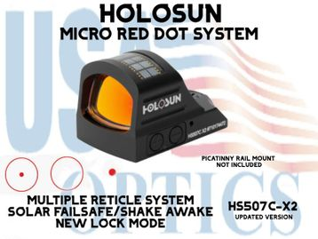 """HOLOSUN OPEN REFLEX PISTOL SIGHT - RED - BATTERY/SOLAR - (PICATINNY RAIL MOUNT NOT INCLUDED)<STRONG><FONT COLOR = """"RED""""> - NEW PRODUCT UPDATES</FONT><BR></STRONG>"""