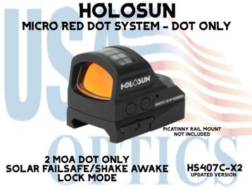 """HOLOSUN OPEN REFLEX PISTOL SIGHT - RED (DOT ONLY) - BATTERY/SOLAR - (PICATINNY RAIL MOUNT NOT INCLUDED)  <STRONG><FONT COLOR = """"RED""""> - NEW PRODUCT UPDATES - COMING SOON</FONT><BR></STRONG>"""