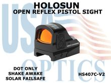 "HOLOSUN OPEN REFLEX PISTOL SIGHT - RED (DOT ONLY) - BATTERY/SOLAR  <STRONG><FONT COLOR = ""RED"">NEW PRODUCT UPDATES - COMING SOON</FONT><BR></STRONG>"