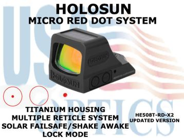 "HOLOSUN OPEN REFLEX PISTOL SIGHT - RED (TITANIUM) - BATTERY/SOLAR <STRONG><FONT COLOR = ""RED""> - NEW PRODUCT UPDATES</FONT><BR></STRONG>"