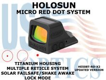 """HOLOSUN OPEN REFLEX PISTOL SIGHT - RED (TITANIUM) - BATTERY/SOLAR <STRONG><FONT COLOR = """"RED""""> - NEW PRODUCT UPDATES</FONT><BR></STRONG>"""