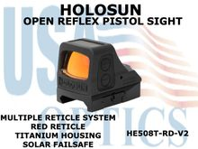 "HOLOSUN OPEN REFLEX PISTOL SIGHT - RED (TITANIUM) - BATTERY/SOLAR <STRONG><FONT COLOR = ""RED"">NEW PRODUCT UPDATES - COMING SOON</FONT><BR></STRONG>"