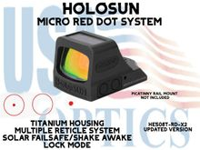 """HOLOSUN OPEN REFLEX PISTOL SIGHT - RED (TITANIUM) - BATTERY/SOLAR - (PICATINNY RAIL MOUNT NOT INCLUDED) <STRONG><FONT COLOR = """"RED""""> - NEW PRODUCT UPDATES</FONT><BR></STRONG>"""