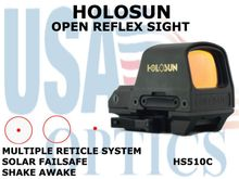 HOLOSUN OPEN REFLEX SIGHT - RED - BATTERY/SOLAR
