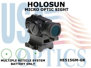 HOLOSUN MICRO OPTIC SIGHT - GREEN - BATTERY ONLY