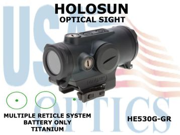 HOLOSUN OPTICAL SIGHT - GREEN - BATTERY ONLY - TITANIUM